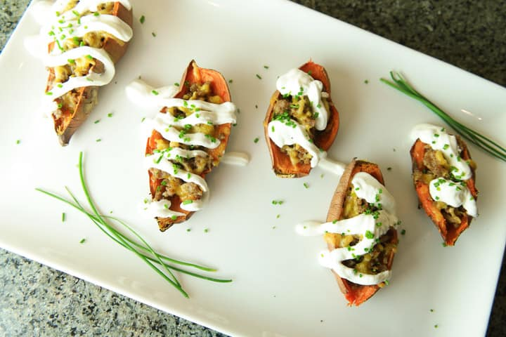 Loaded Sweet Potato Skins with Sausage