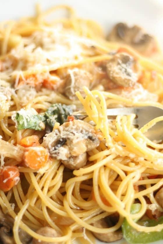 One Pot Pasta with Sausage Mushrooms and Basil