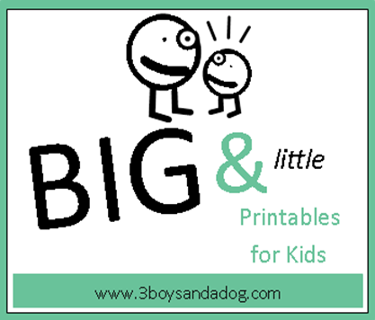 Big and Little Worksheets – 3 Boys and a Dog