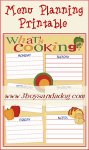 Free Whats Cooking Weekly Menu Planning Printable