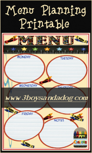 Back To School Meal Planning Printable and Menu