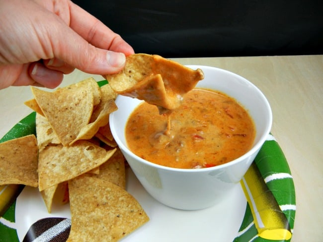 Cheesy goodness!! 3 Ingredient Rotel Dip on 3 Boys and a Dog. #UltimateTailgatingParty