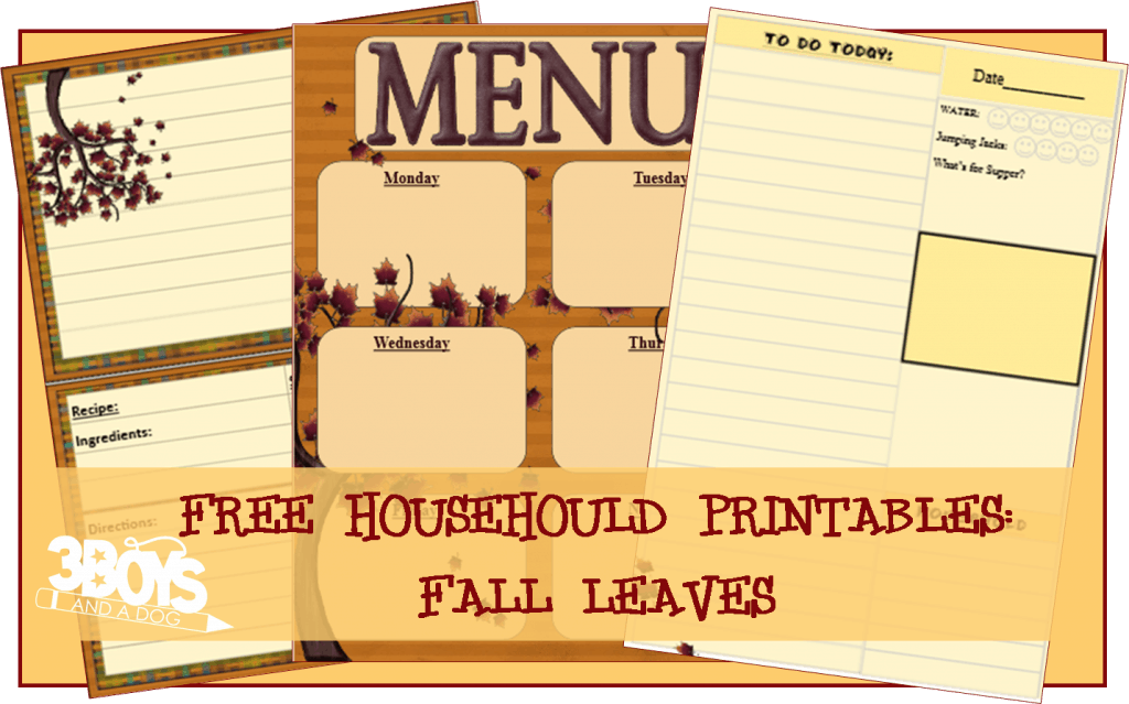 Fall Leaves Homemaking Printables