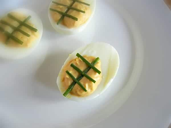 Football Deviled Eggs. Perfect for Tailgating! Get the recipe at 3 boys and a dog!