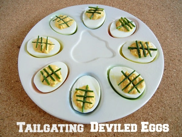 Tailgating Deviled Eggs. A little spicy kick!! Recipe on 3 Boys & a Dog #UltimateTailgatingParty
