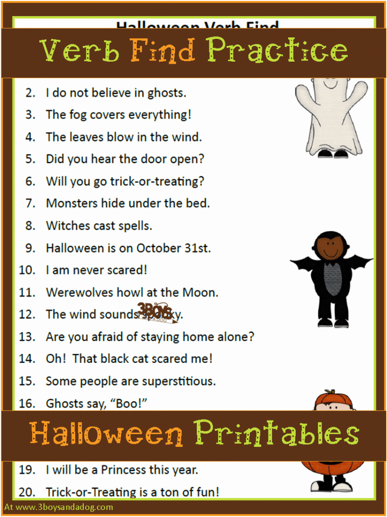 Printable Halloween Verb Find Language Arts Worksheet for 2nd and 3rd grade