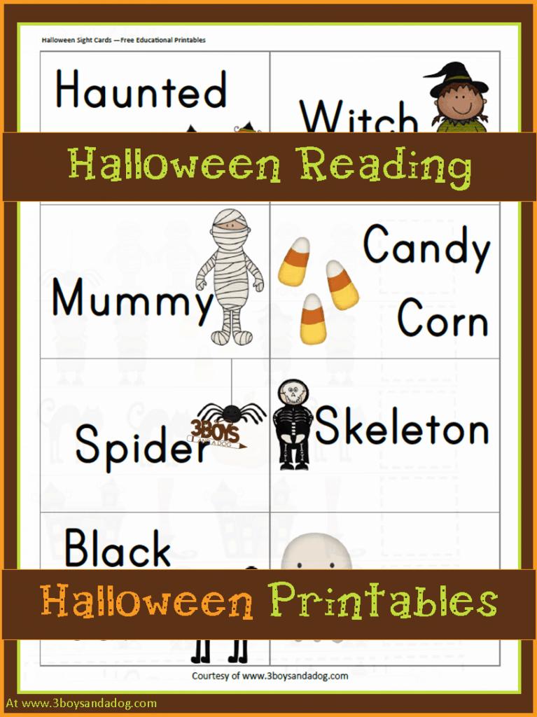 Halloween Printables: Halloween Reading Fun u2013 3 Boys and a Dog