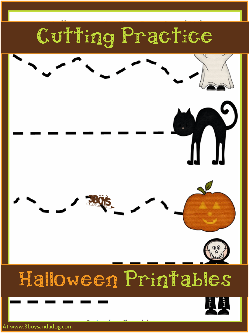 Halloween Worksheet: Preschool Cutting Practice