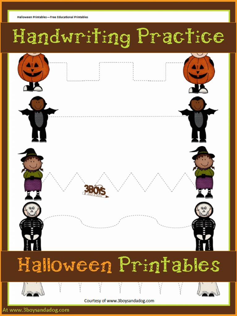 Halloween Printables Preschool Handwriting Practice 3