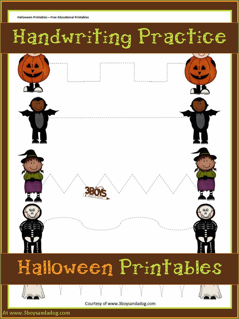 Preschool Halloween Handwriting Practice