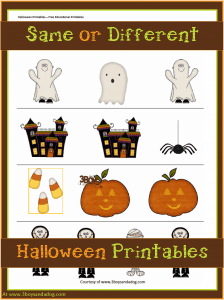 Halloween Printables: Same or Different