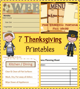 Menu Plan Monday:  Thanksgiving Planning Printables