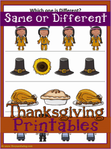 Thanksgiving Printables: Same or Different