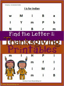 Ii is for Indian Free Thanksgiving Worksheets