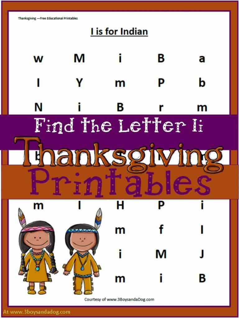 Find the Letter Ii - Thanksgiving themed alphabet printable