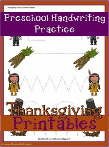 Thanksgiving Printables:  Preschool Handwriting Worksheet