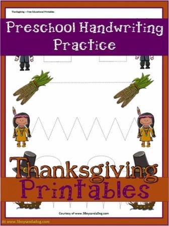 Thanksgiving Handwriting Worksheet