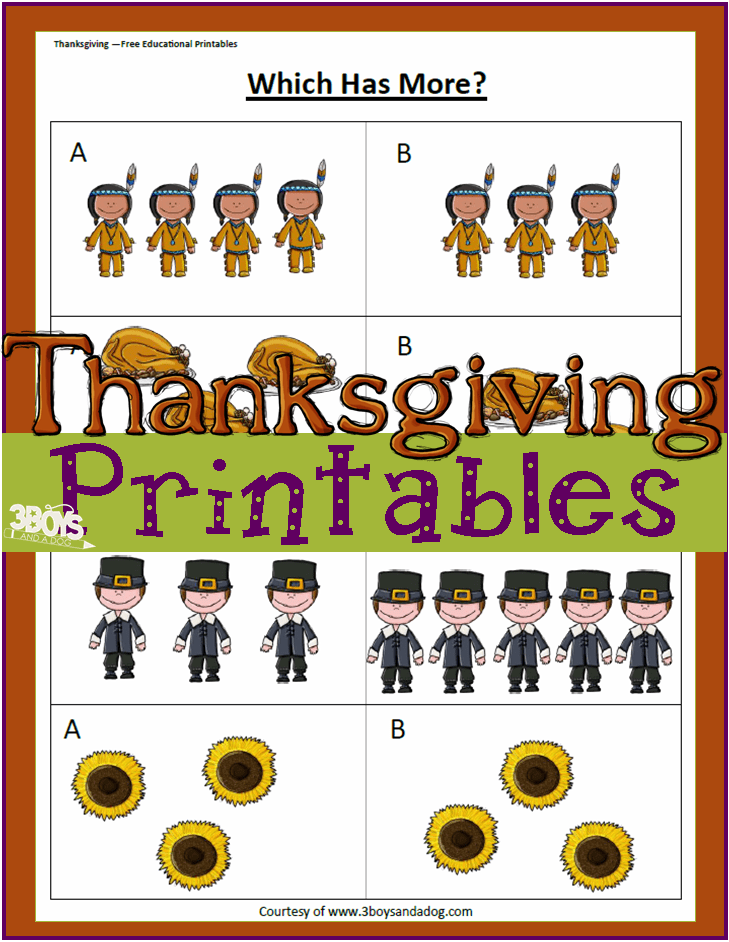 Thanksgiving Printables Greater Than Less Than Worksheets 3 – Greater Than Less Than Worksheet for Kindergarten