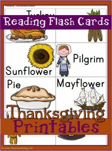Thanksgiving Printables:  Reading Flash Cards