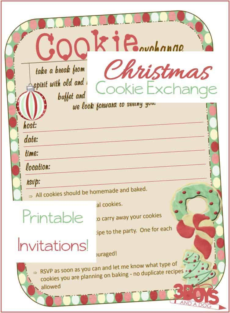 Christmas Cookie Exchange Printable Invitations