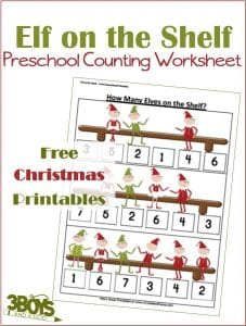Elf on the Shelf Counting Worksheets for Christmas
