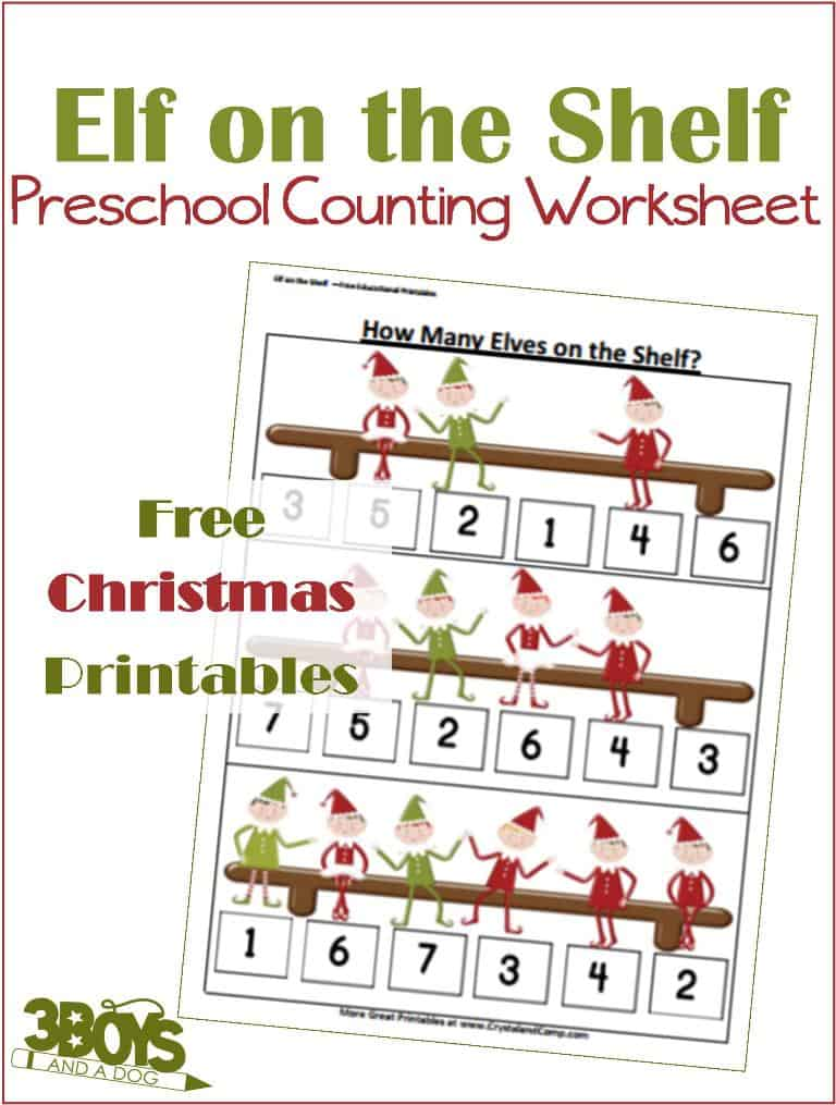 Elf on the Shelf Math Worksheets for Preschoolers – 3 Boys and a Dog