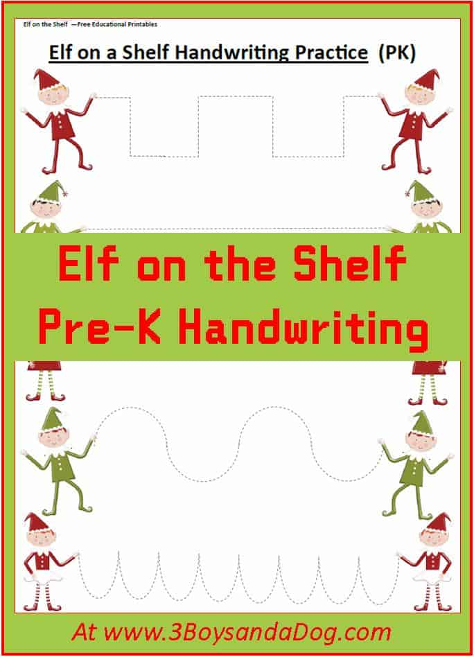 Elf Preschool Handwriting Practice