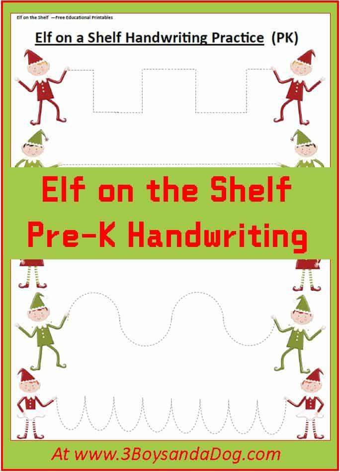 Elf Preschool Handwriting Practice