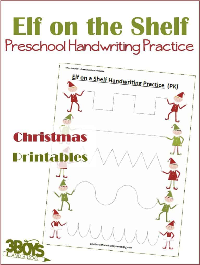 Handwriting Practice Printable for Preschool in an adorable Elf on the Shelf theme
