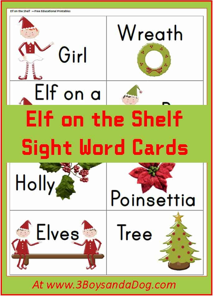 Elf Sight Word Flash Cards