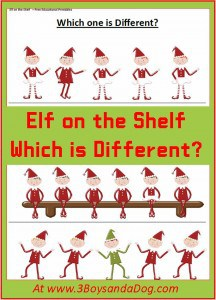 Christmas Printable Worksheets: Which Elf is Different?