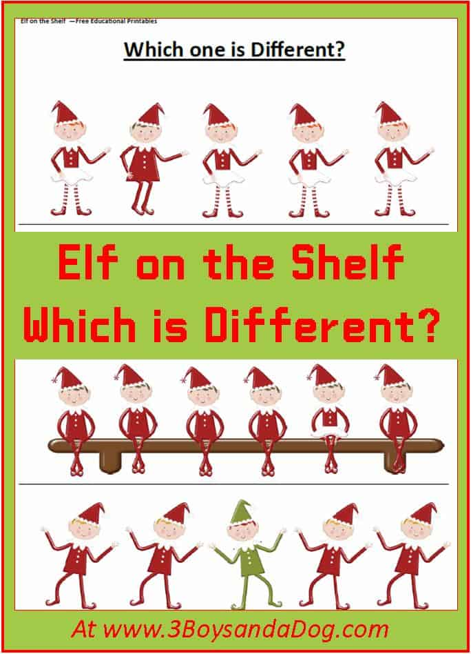 Christmas Printable Worksheets: Which Elf is Different – 3 Boys and ...