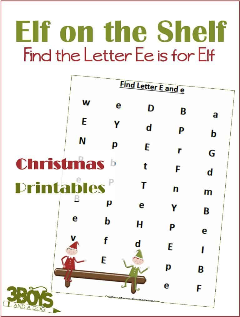 image about Letter E Printable identify Identify the Letter E is for Elf (Xmas Printable Worksheets
