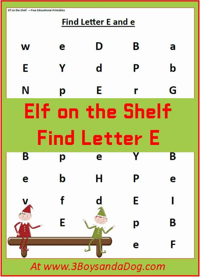 Find the Letter Christmas Worksheet: E is for Elf