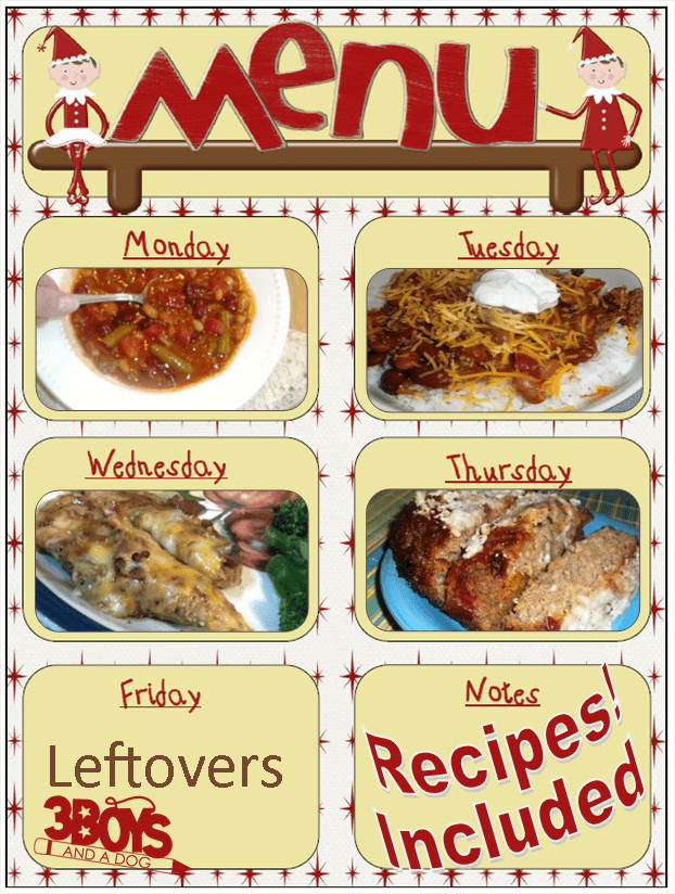 weekly menu with recipes