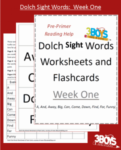 Dolch Sight Words Week 1