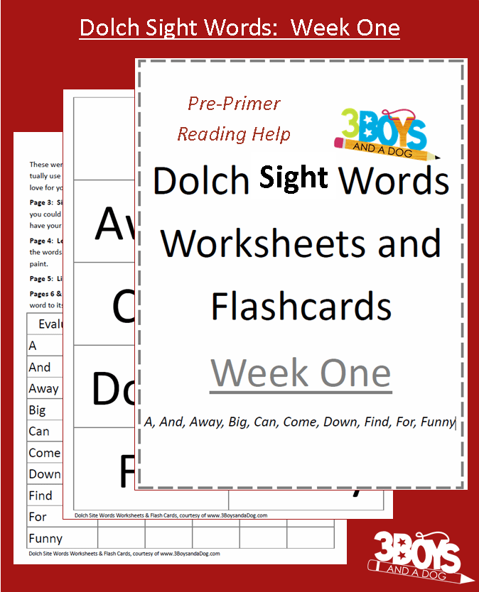 Printables Dolch Sight Word Worksheets dolch sight words worksheets week one 3 boys and a dog included