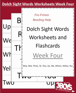 Dolch Sight Words Worksheets:  Week Four