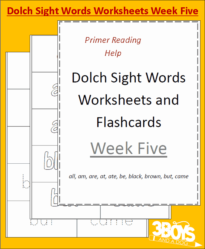 Printables Dolch Sight Words Worksheets dolch sight words worksheets week five 3 boys and a dog included