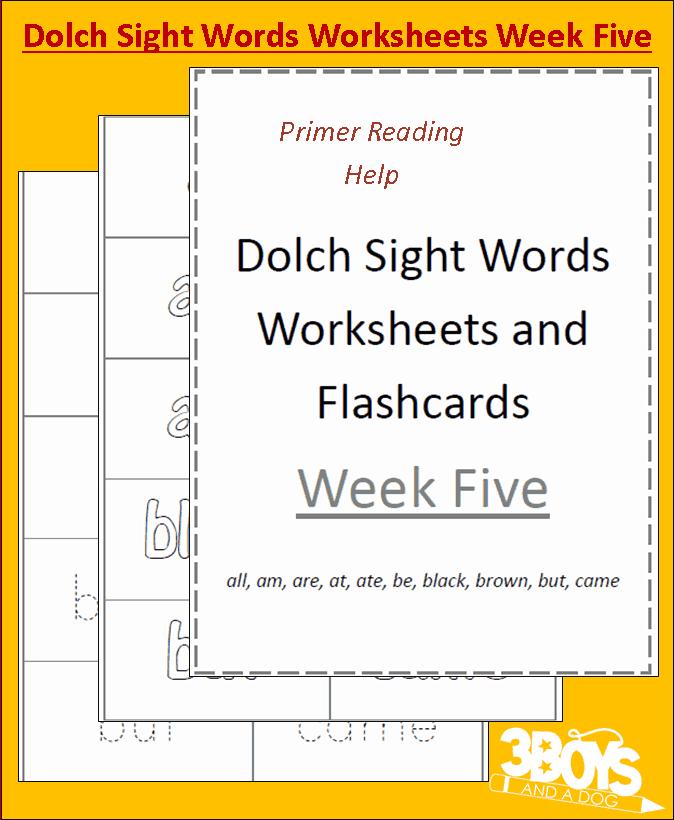 dolch sight words worksheets week five 3 boys and a dog. Black Bedroom Furniture Sets. Home Design Ideas