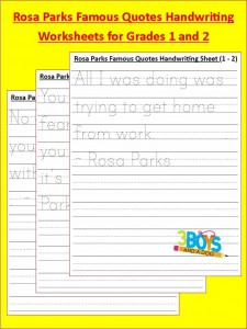 Black History: Rosa Parks Handwriting Worksheets (grades 1-2)