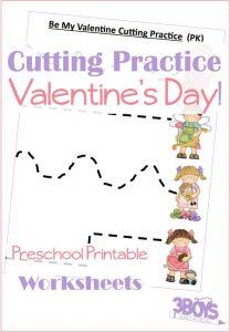 Valentine Preschool Cutting Practice Printable Worksheets