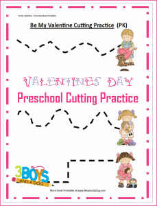 Valentine Preschool Cutting Practice Printable Worksheets