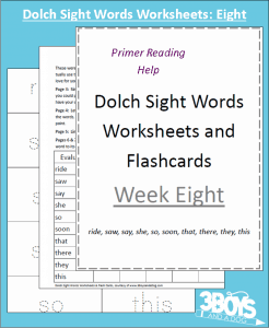 Dolch Sight Words Worksheets:  Week Eight