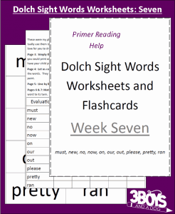 Dolch Sight Words Worksheets:  Week Seven