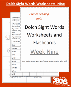 Dolch Sight Words Worksheets:  Week Nine
