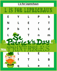 Saint Patrick's Day Printables: L is for Leprechaun