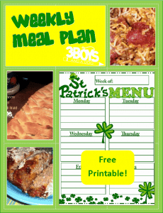 Free Saint Patrick's Day Menu Planning Printable plus my weekly menu with recipes!