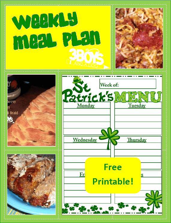 printable menu planning sheet