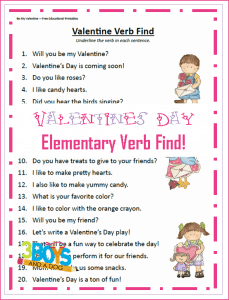 Valentine Verb Find Printable Worksheet